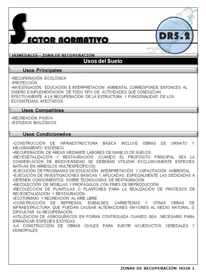 SECTOR NORMATIVO DR5.2 Usos del Suelo Usos Principales