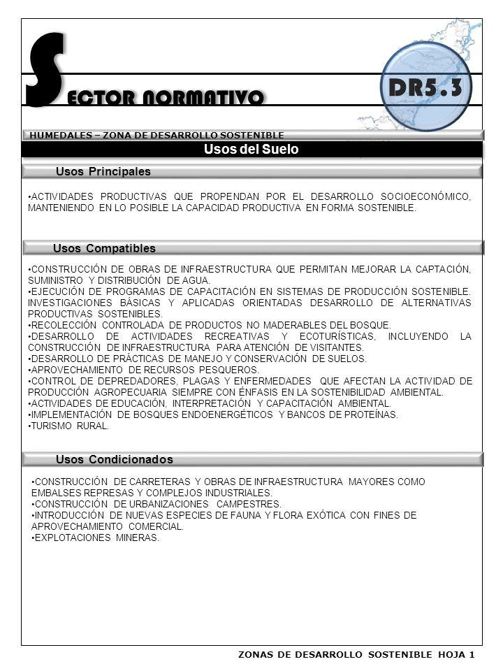 SECTOR NORMATIVO DR5.3 Usos del Suelo Usos Principales