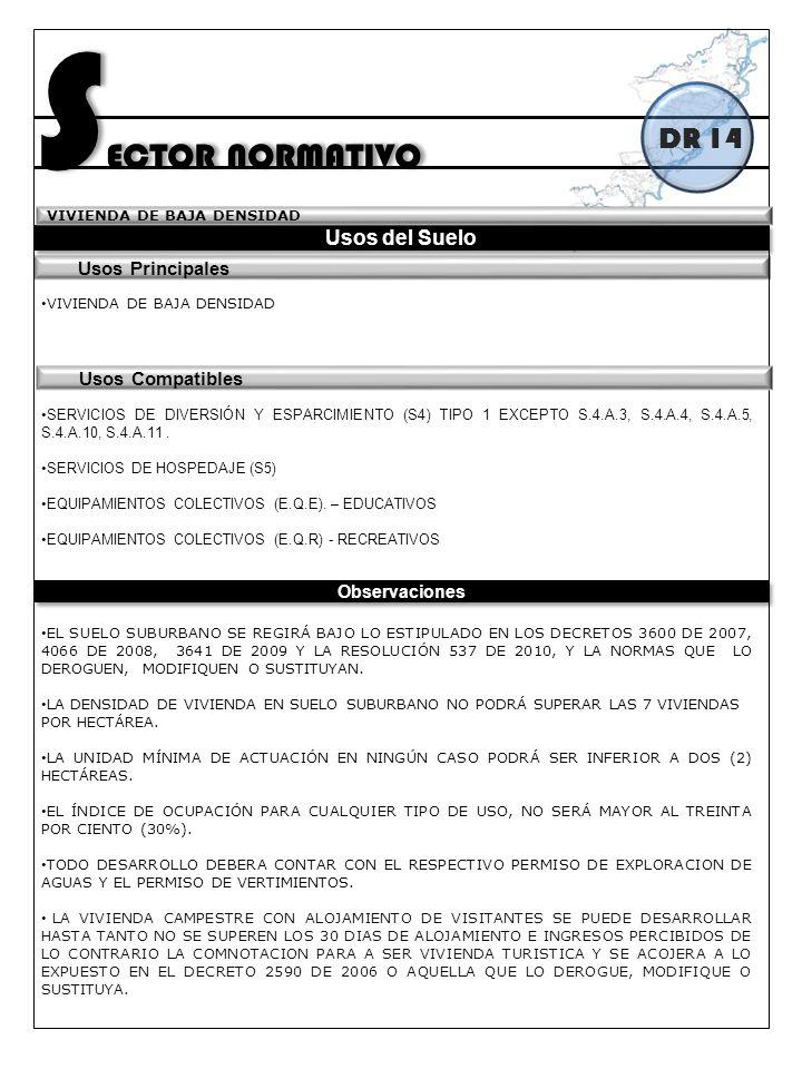 SECTOR NORMATIVO DR 14 Usos del Suelo Usos Principales
