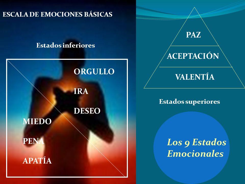 Los 9 Estados Emocionales PAZ ACEPTACIÓN ORGULLO VALENTÍA IRA DESEO