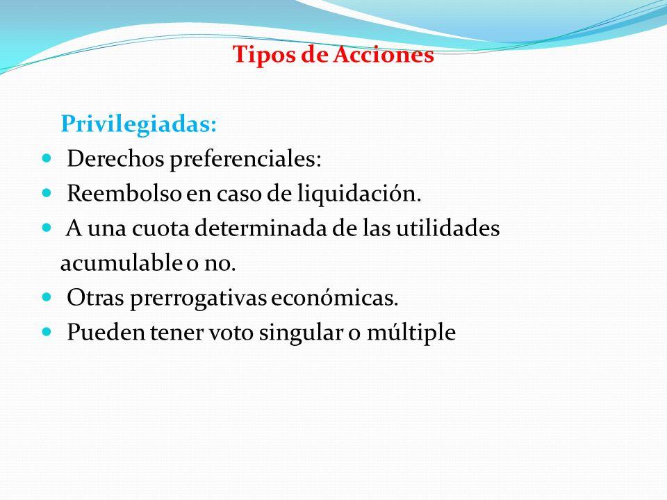 Tipos de Acciones Privilegiadas: Derechos preferenciales: Reembolso en caso de liquidación. A una cuota determinada de las utilidades.