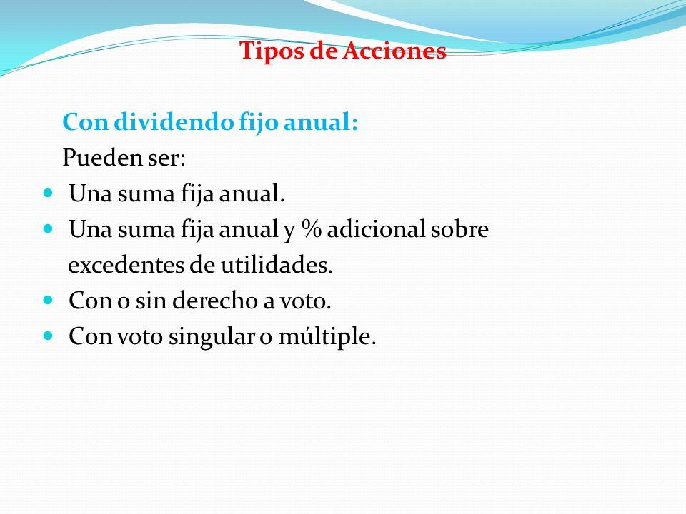 Tipos de Acciones Con dividendo fijo anual: Pueden ser: Una suma fija anual. Una suma fija anual y % adicional sobre.
