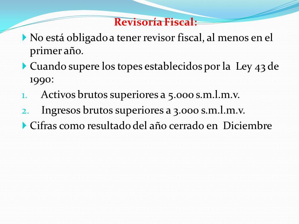 Revisoría Fiscal: No está obligado a tener revisor fiscal, al menos en el primer año. Cuando supere los topes establecidos por la Ley 43 de 1990: