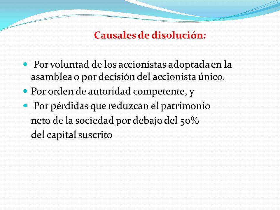 Causales de disolución: