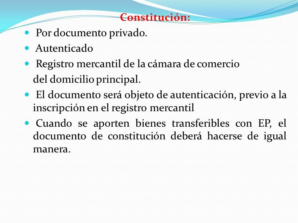 Constitución: Por documento privado. Autenticado. Registro mercantil de la cámara de comercio. del domicilio principal.