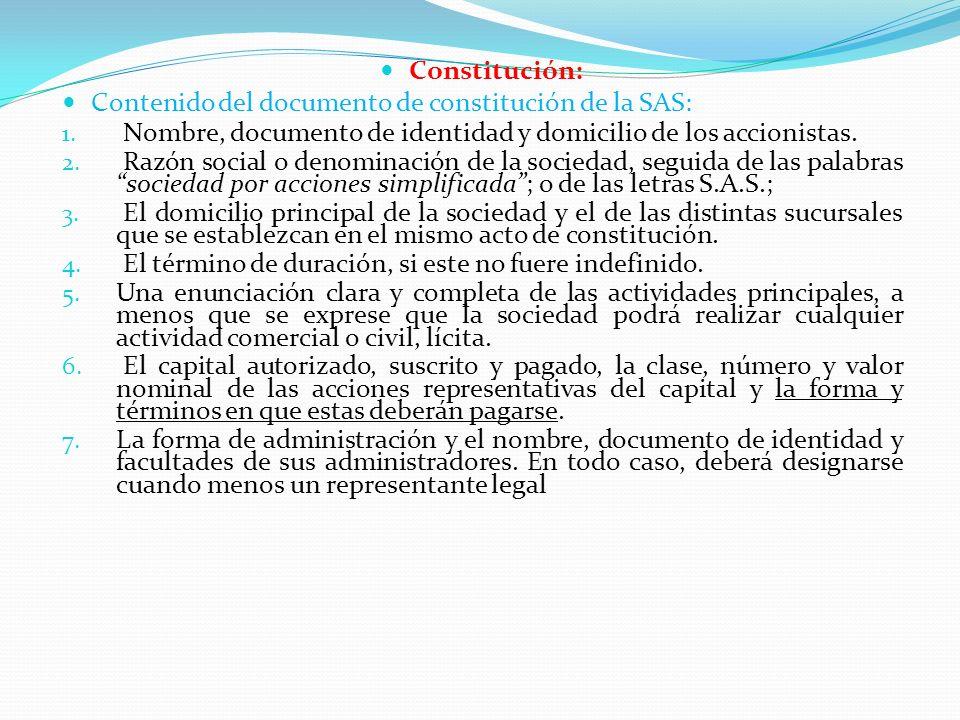 Constitución: Contenido del documento de constitución de la SAS: Nombre, documento de identidad y domicilio de los accionistas.