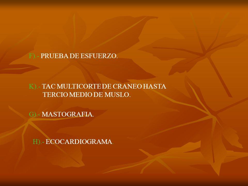 F).- PRUEBA DE ESFUERZO. K).- TAC MULTICORTE DE CRANEO HASTA. TERCIO MEDIO DE MUSLO. G).- MASTOGRAFIA.