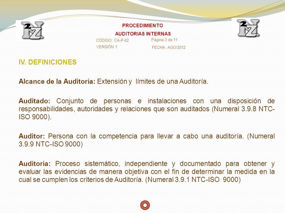 Alcance de la Auditoría: Extensión y límites de una Auditoría.