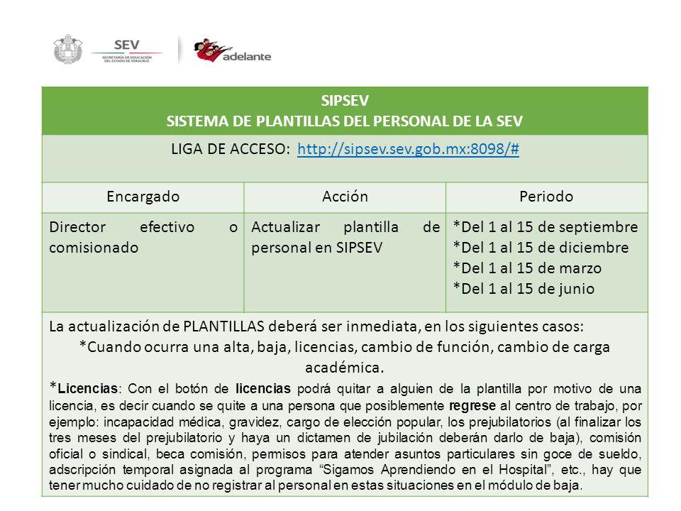SISTEMA DE PLANTILLAS DEL PERSONAL DE LA SEV