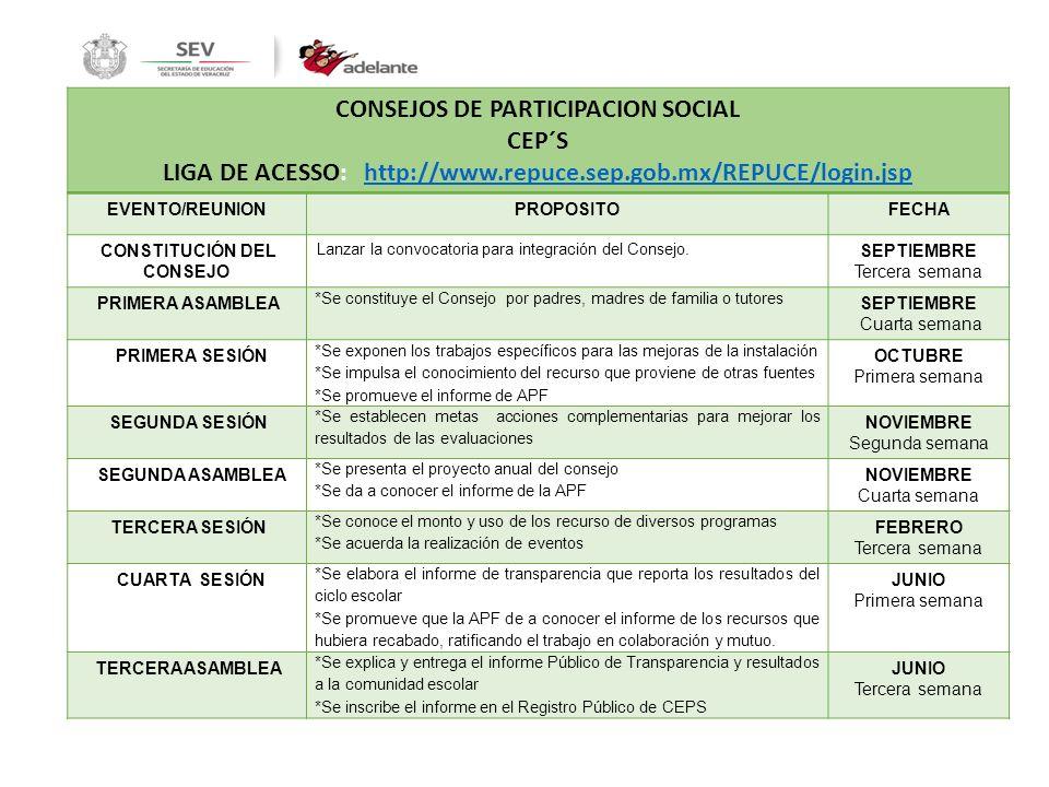 CONSEJOS DE PARTICIPACION SOCIAL CEP´S