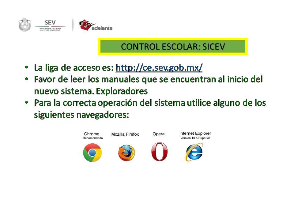 CONTROL ESCOLAR: SICEV