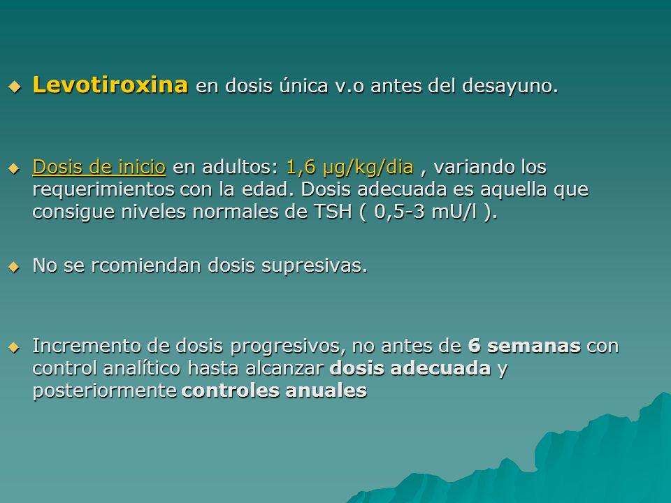 Levotiroxina en dosis única v.o antes del desayuno.