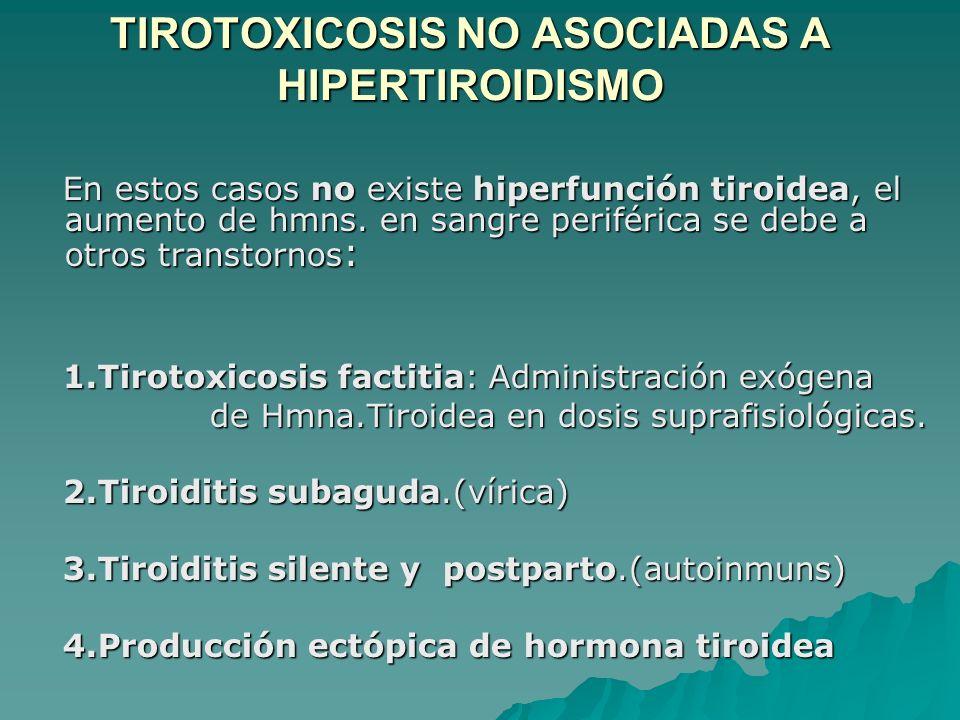 TIROTOXICOSIS NO ASOCIADAS A HIPERTIROIDISMO