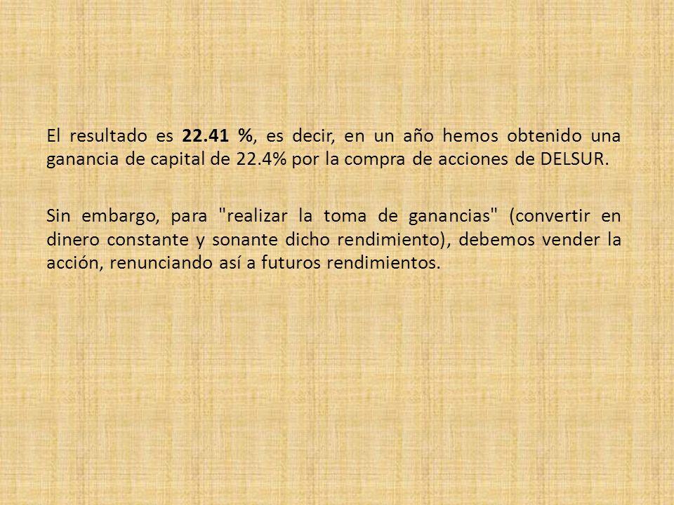 El resultado es 22.41 %, es decir, en un año hemos obtenido una ganancia de capital de 22.4% por la compra de acciones de DELSUR.