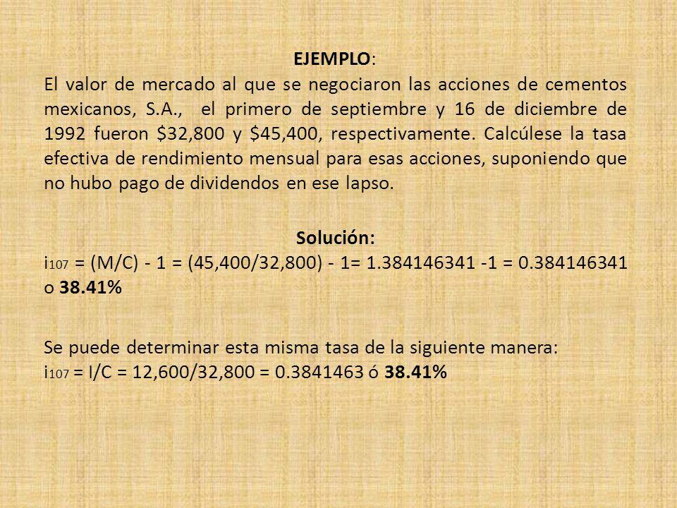 EJEMPLO: El valor de mercado al que se negociaron las acciones de cementos mexicanos, S.A., el primero de septiembre y 16 de diciembre de 1992 fueron $32,800 y $45,400, respectivamente. Calcúlese la tasa efectiva de rendimiento mensual para esas acciones, suponiendo que no hubo pago de dividendos en ese lapso.