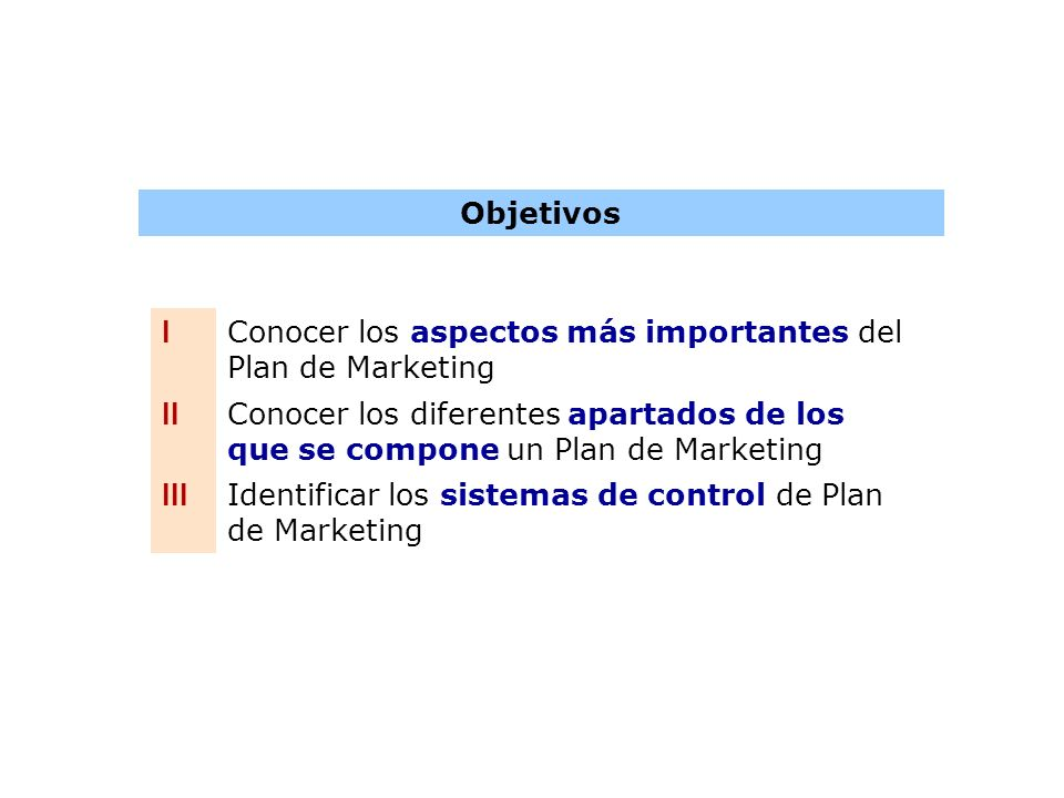 Objetivos I. Conocer los aspectos más importantes del Plan de Marketing. II.