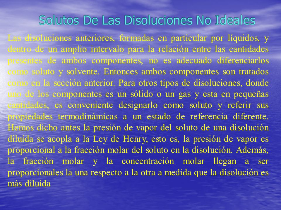 Solutos De Las Disoluciones No Ideales