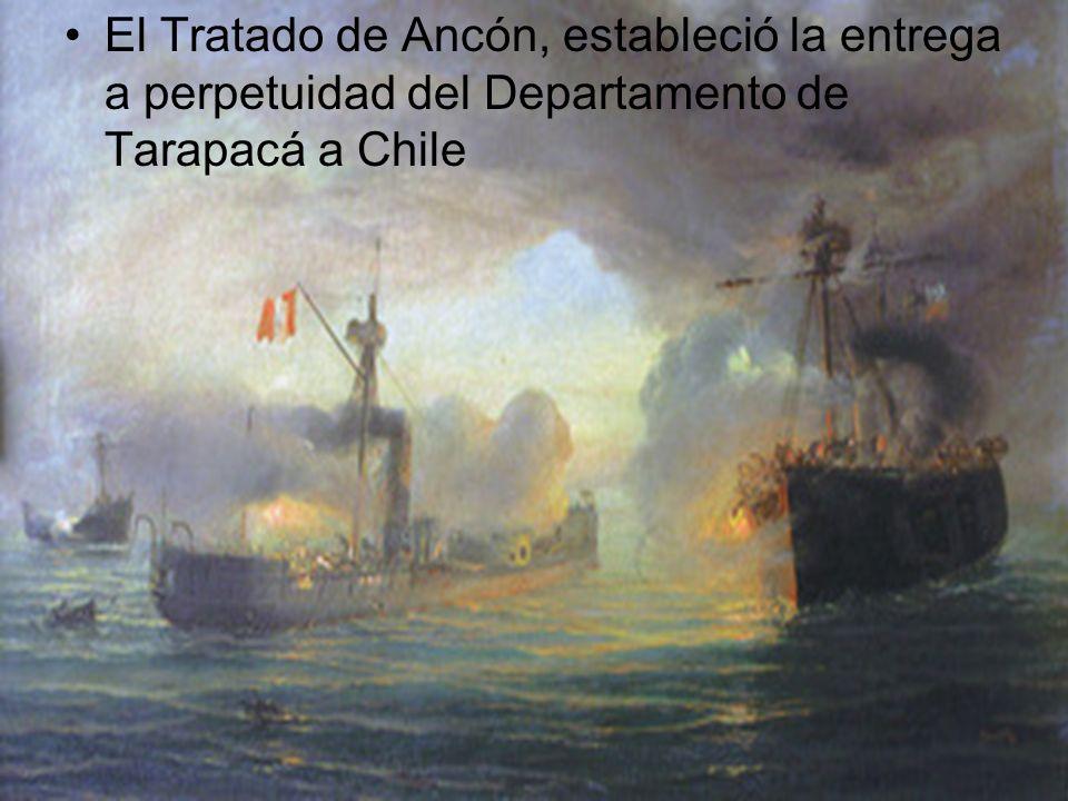 El Tratado de Ancón, estableció la entrega a perpetuidad del Departamento de Tarapacá a Chile