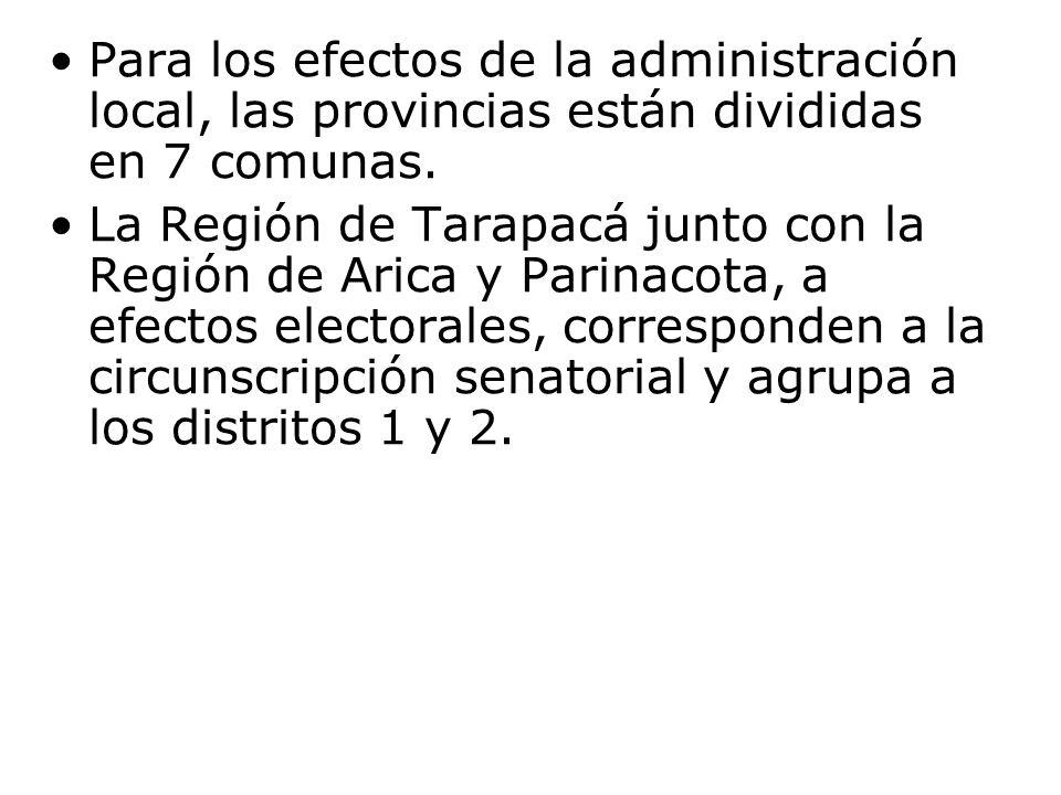 Para los efectos de la administración local, las provincias están divididas en 7 comunas.