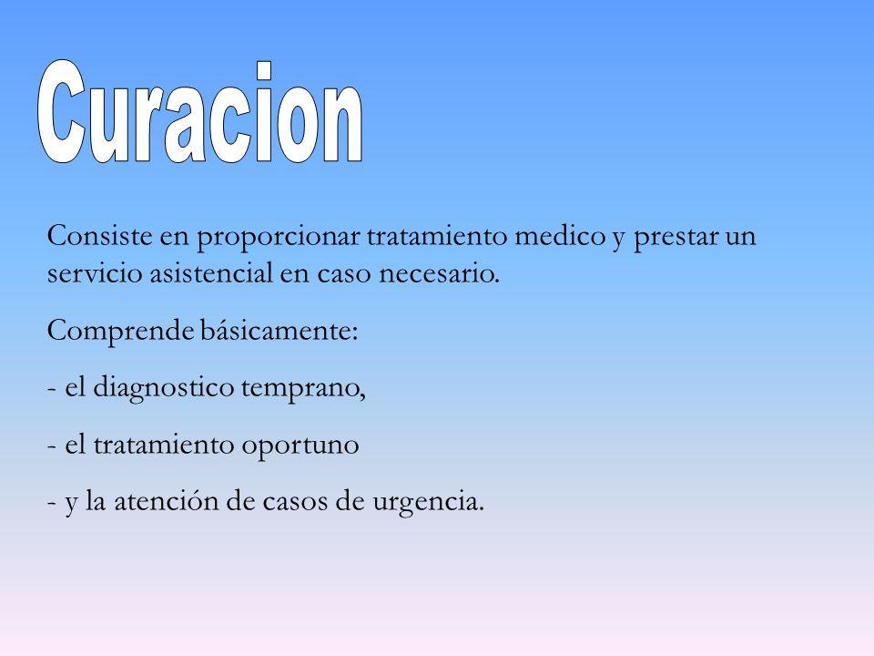 CuracionConsiste en proporcionar tratamiento medico y prestar un servicio asistencial en caso necesario.