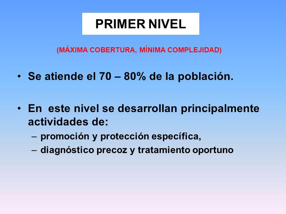 PRIMER NIVEL Se atiende el 70 – 80% de la población.