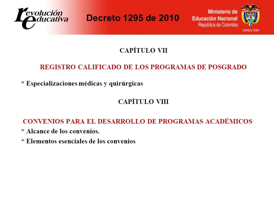 REGISTRO CALIFICADO DE LOS PROGRAMAS DE POSGRADO