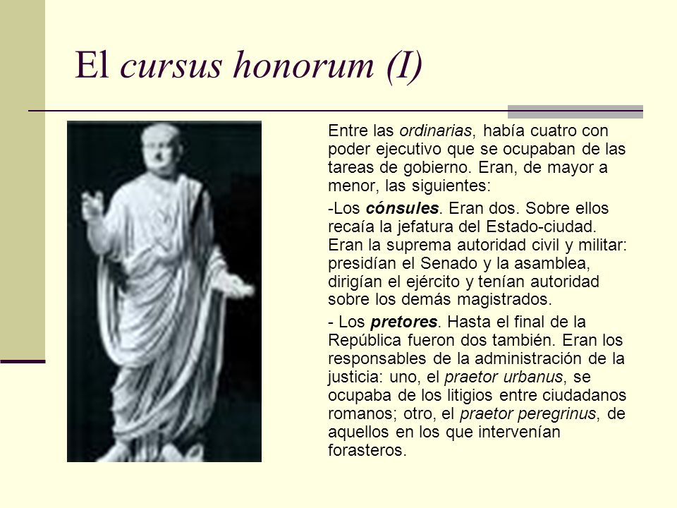 El cursus honorum (I)