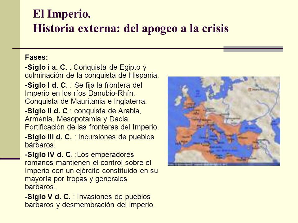 El Imperio. Historia externa: del apogeo a la crisis