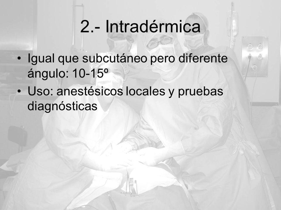 2.- Intradérmica Igual que subcutáneo pero diferente ángulo: 10-15º