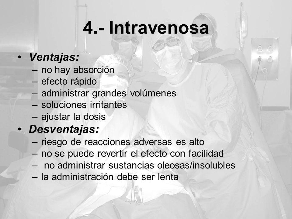 4.- Intravenosa Ventajas: Desventajas: no hay absorción efecto rápido