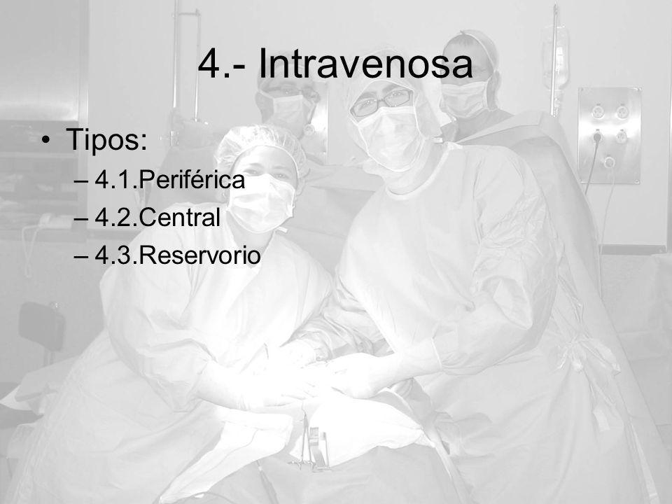 4.- Intravenosa Tipos: 4.1.Periférica 4.2.Central 4.3.Reservorio