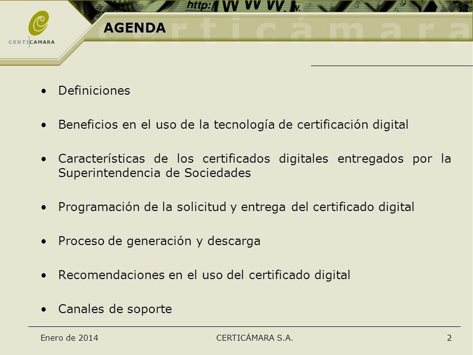 AGENDA Definiciones. Beneficios en el uso de la tecnología de certificación digital.