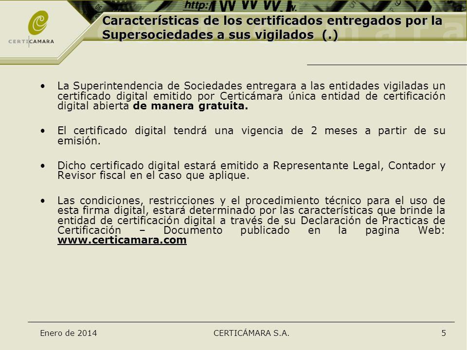 Características de los certificados entregados por la Supersociedades a sus vigilados (.)