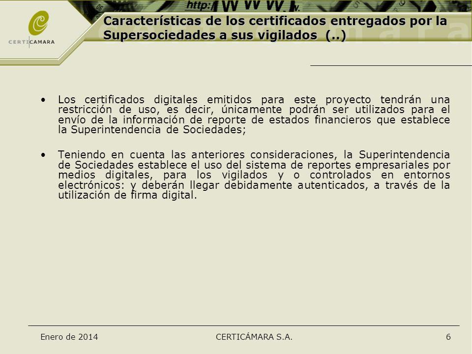 Características de los certificados entregados por la Supersociedades a sus vigilados (..)