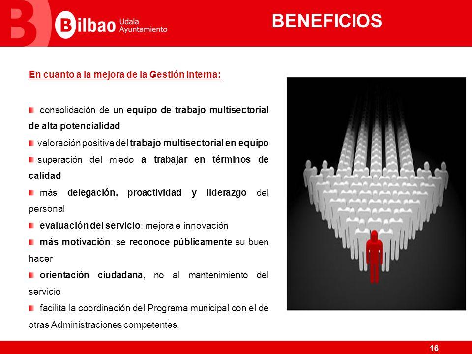 BENEFICIOS En cuanto a la mejora de la Gestión Interna: consolidación de un equipo de trabajo multisectorial de alta potencialidad.