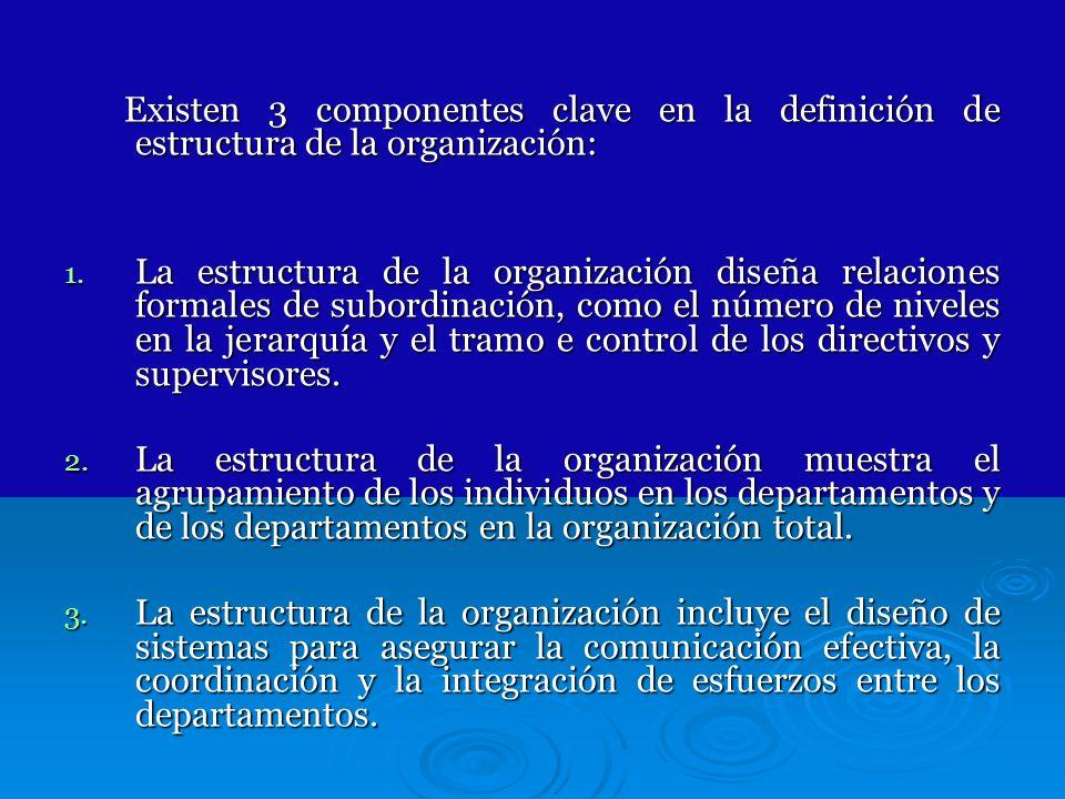 Existen 3 componentes clave en la definición de estructura de la organización: