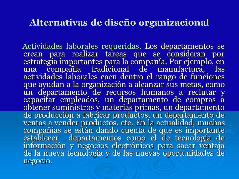 Alternativas de diseño organizacional