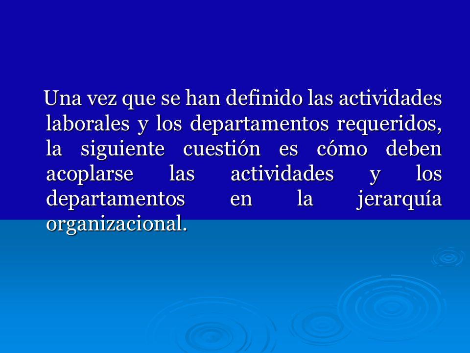 Una vez que se han definido las actividades laborales y los departamentos requeridos, la siguiente cuestión es cómo deben acoplarse las actividades y los departamentos en la jerarquía organizacional.