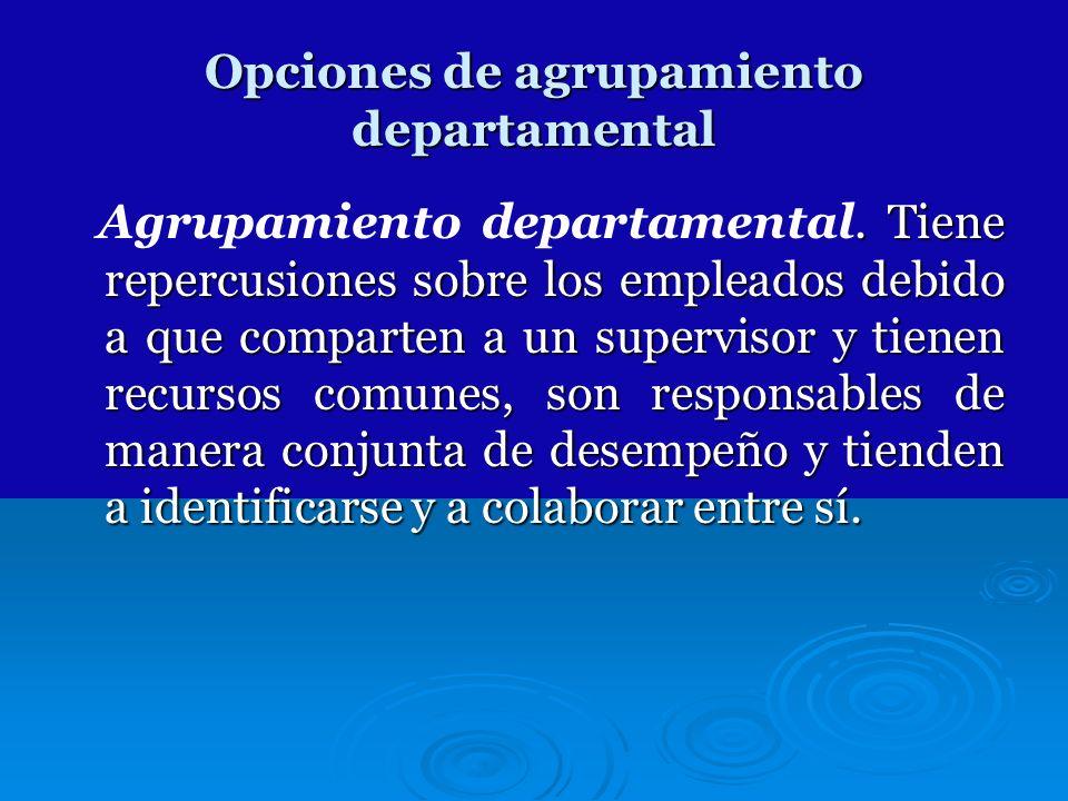 Opciones de agrupamiento departamental