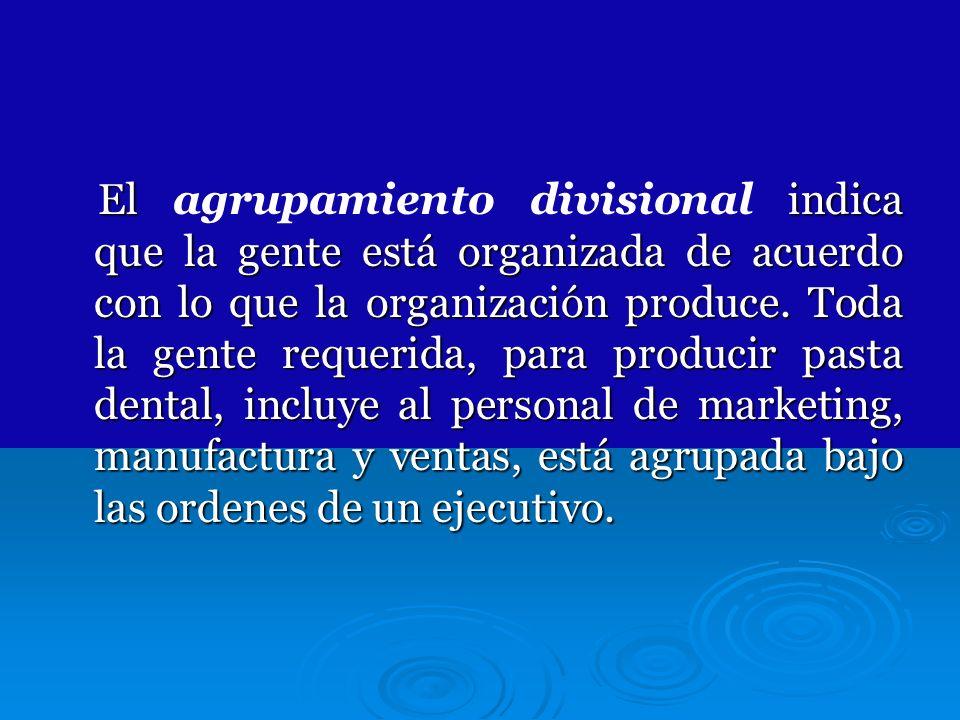 El agrupamiento divisional indica que la gente está organizada de acuerdo con lo que la organización produce.