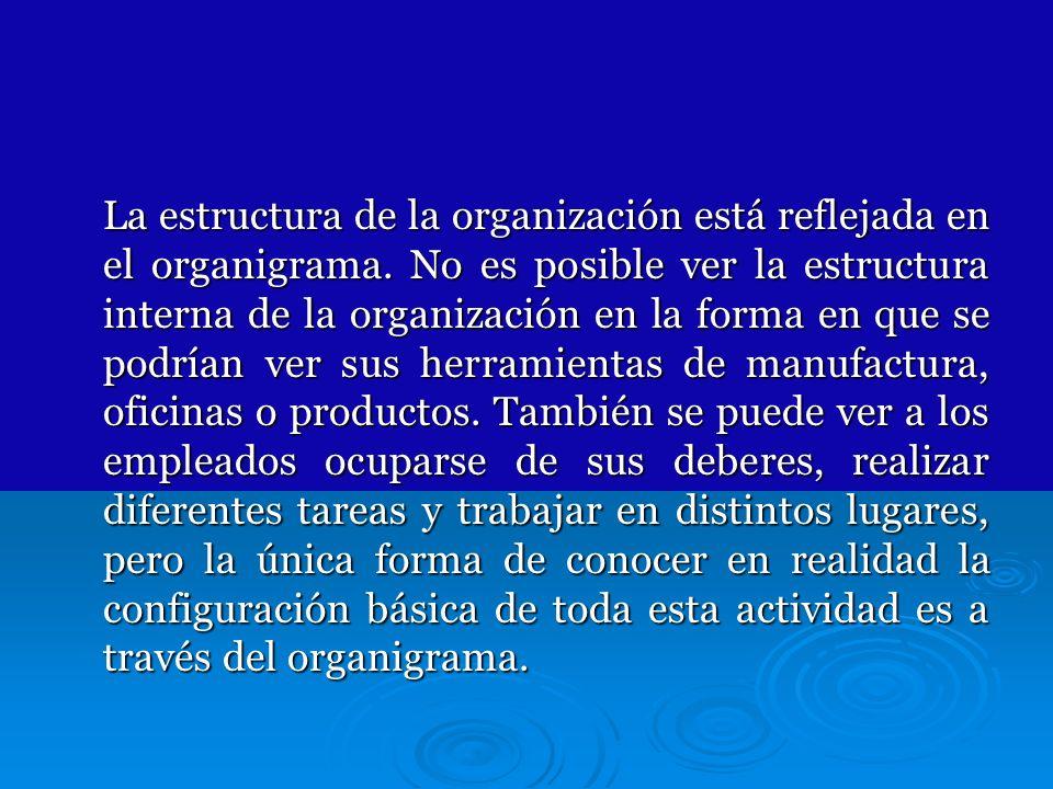 La estructura de la organización está reflejada en el organigrama