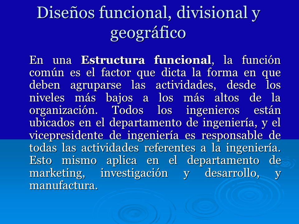 Diseños funcional, divisional y geográfico
