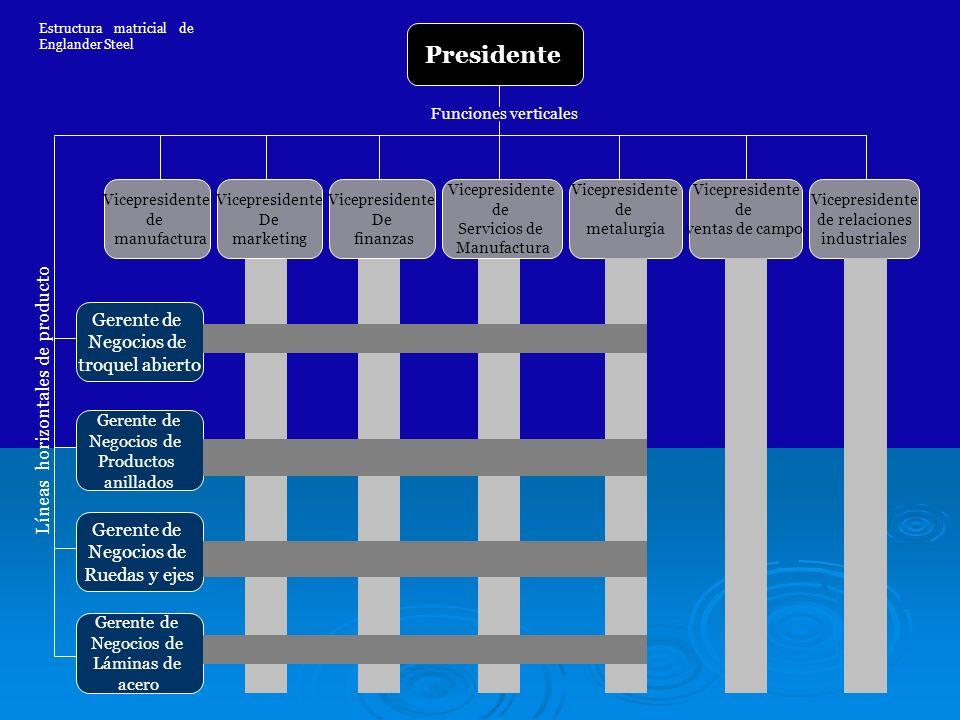 Presidente Líneas horizontales de producto Gerente de Negocios de