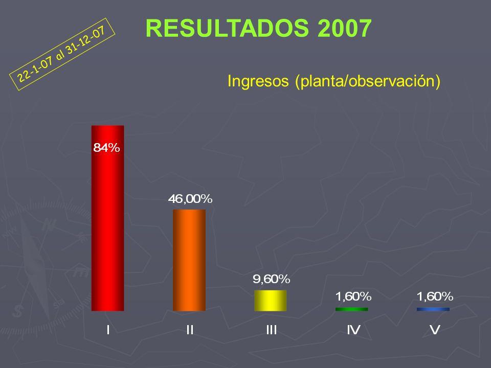 RESULTADOS 2007 22-1-07 al 31-12-07 Ingresos (planta/observación)