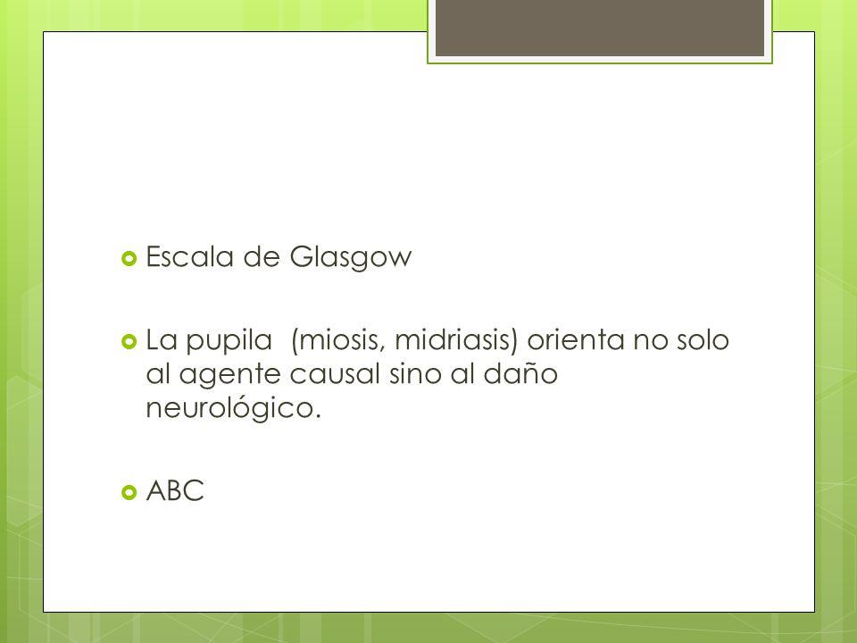 Escala de Glasgow La pupila (miosis, midriasis) orienta no solo al agente causal sino al daño neurológico.