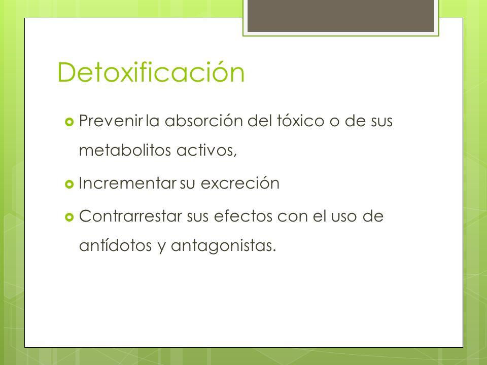 Detoxificación Prevenir la absorción del tóxico o de sus metabolitos activos, Incrementar su excreción.