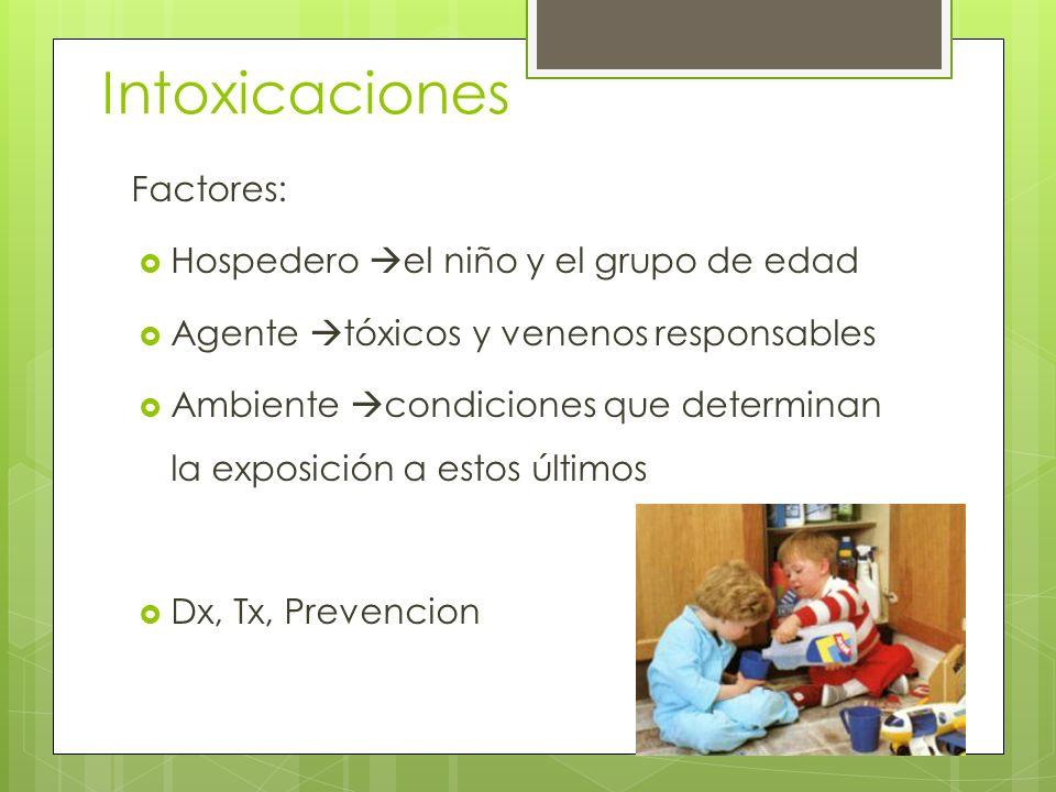 Intoxicaciones Factores: Hospedero el niño y el grupo de edad