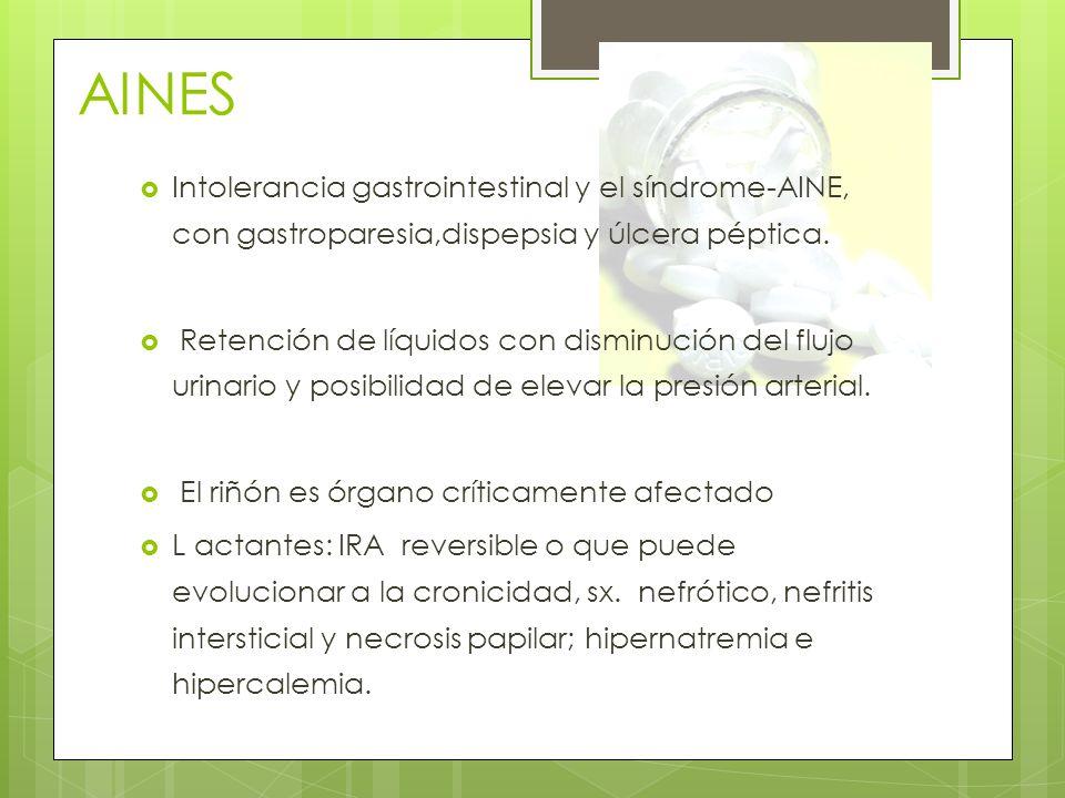 AINES Intolerancia gastrointestinal y el síndrome-AINE, con gastroparesia,dispepsia y úlcera péptica.