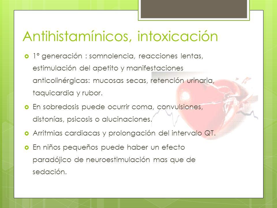 Antihistamínicos, intoxicación
