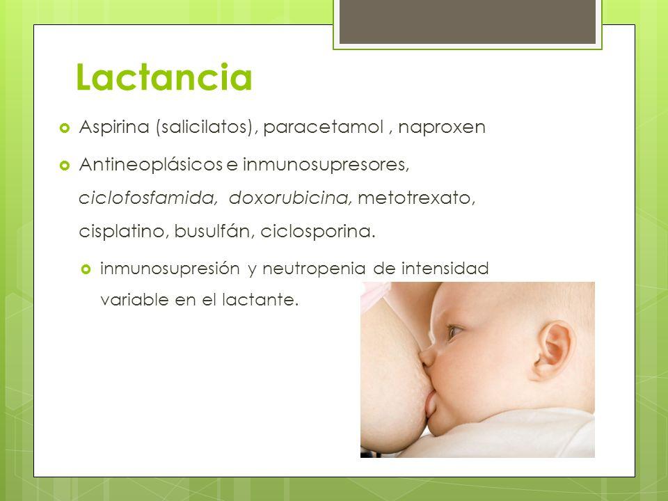 Lactancia Aspirina (salicilatos), paracetamol , naproxen